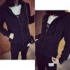 (ภาพจริง)เสื้อคลุม แขนยาว บุกันหนาว ซิบหน้า มีฮูด สีดำ