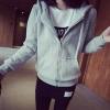 เสื้อคลุม แขนยาว บุกันหนาว ซิบหน้า มีฮูด สีเทา
