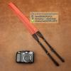 สายกล้องคล้องคอ - รุ่นกันลื่น ขนาด 25 mm สีส้ม ปลายดำ