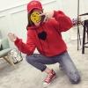 เสื้อกันหนาวแฟชั่น มีฮูด แขนยาว ลายหัวใจ สีแดง