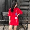เสื้อแฟชั่น คอกลม แขนสั้น แต่งอักษรอาร์ม เก๋ๆ สีแดง