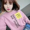 เสื้อแฟชั่น คอกลม แขนยาว ลายอักษร สีชมพู