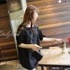เสื้อแฟชั่น คอวี แขน3 ส่วน แต่งผ้าลูกไม้ สีดำ