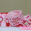 ริบบิ้นผ้า กรอสเกรน สีชมพู พิมพิ์ลาย happy valentine's day