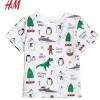 เสื้อยืดเด็กสีขาวเพนกวิน คริสต์มาส H&M ขนาด 2-8 ปี