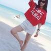 เสื้อยืดผ้าฝ้ายแฟชั่น KAWAI สีแดง