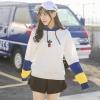 (ภาพจริง)เสื้อแฟชั่น เสื้อกันหนาว แขนยาวทูโทน บุกันหนาว มีฮูด ลายกระบองเพชร สีขาว