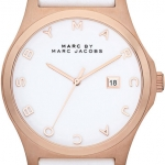 Marc by Marc Jacobs MBM1212 Women's Henry White Leather Strap White Dial Rose Gold Tone Watch