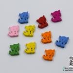 กระดุมไม้ รูปแมว คละสี [แพ็ค 10 เม็ด]