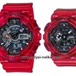 นาฬิกา Casio G-SHOCK x BABY-G คู่เจลลี่ใส เซ็ตคู่รัก CORAL REEF series รุ่น GA-110CR-4A x BA-110CR-4A Pair set (เจลลี่แดงทับทิม) ของแท้ รับประกัน 1 ปี