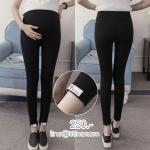 เลกกิ้งขายาวสีดำสำหรับคนท้อง เอวมีผ้ารองหน้าท้อง มีสายปรับ ปลายติดป้าย หรือจะใส่แบบเรียบๆก็พับลงได้