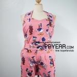 ชุดเสื้อ+กางเกง ผ้ามอสเครป ลายโดนัลด์ดัก สีชมพู อก 38-46 นิ้ว