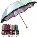 ร่มแฟชั่นพับ4ตอนแฟชั่น ผ้าUV (ลายจุด ชายระบายลูกไม้) โครงอลูมิเนียม ด้ามร้อยเชือก ปลอกผ้า คละสี