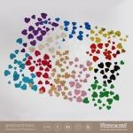 กากเพชรรูปหัวใจ คละ3ขนาด กล่องใหญ่ 12 เชดสี