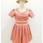 เดรส ผ้าแคนวาส พิมพ์ลาย Polka Dot สีชมพู อก 46-50 นิ้ว
