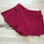 กางเกงกระโปรง ผ้าฮานาโกะ สีแดง เอว 36-50 นิ้ว