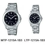 นาฬิกา คาสิโอ Casio SETคู่รัก รุ่น MTP-1215A-1B3+LTP-1215A-1B3 ของแท้ รับประกัน 1 ปี