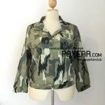 เสื้อแจ็คเก็ต ผ้าญี่ปุ่นพิมพ์ลายทหาร สีเขียวอ่อน อก 52 นิ้ว