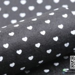 ผ้าสักหลาด พิมพ์ลายหัวใจ สีดำ