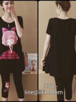 เสื้อยืดสีดำสกีนลายผู้หญิง+เลกกิ้งสีขาวสำหรับคนท้องเอวมีสายปรับ