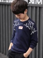 C117-60 เสื้อกันหนาวเด็กสีกรม สกรีนลายสวย ข้างในบุขนนุ่ม สำหรับอากาศ สบาย size 120-160 พร้อมส่ง