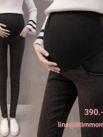 สกินนี่คนท้องสีดำ ผ้ายืดดีมาก ใส่ทำงานได้เอวมีผ้ารองหน้าท้องเอวปรับได้ มีกระเป๋า หน้า-หลัง
