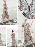 maxi dress ซีฟองพิมพ์ลายดอกไม้โทนสีน้ำตาล คอวี