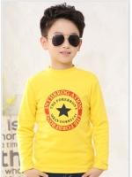 C116-43 เสื้อกันหนาวเด็กชายสีเหลือง พิมพ์ลายสวย ผ้ามีขนนุ่มๆเพิ่มความอบอุ่น สวมใส่สบาย size 110-150 พร้อมส่ง