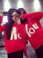 เสื้อคู่ คอกลม แขนยาว ลาย YOU + ME สีแดง (2ตัว)