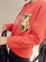 เสื้อผ้าแฟชั่น คอกลม แขนยาว ลายน้องหมา สีส้ม