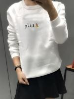 เสื้อแฟชั่น คอกลม แขนยาว บุกันหนาว ลาย pizza สีขาว