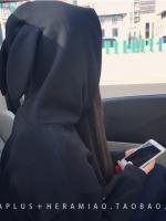 เสื้อกันหนาวแฟชั่น แขนยาว มีฮูด หูกระต่าย สีดำ