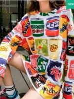 (ภาพจริง) เสื้อแฟชั่น hiphop คอกลม แขนสั้น ลาย can แขนยาว