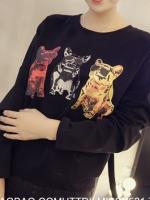 เสื้อผ้าแฟชั่น คอกลม แขนยาว ลายน้องหมา สีดำ