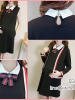 ชุดเซ็ตมินิเดรสผ้ายืดสีดำคอบัวสีขาวพร้อมเข็มกลัดโบว์+เสื้อคลุมแขนยาว เข้าชุด
