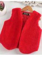 C117-36 เสื้อกั๊กคลุมกันหนาวสวยๆ มี 2 สี แดง ชมพู ซับในทั้งตัว ใส่สบาย size 100-140