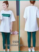 ชุดเซ็ตเสื้อยืดสีขาว+กางเกงสีเขียวเอวมีสายปรับ