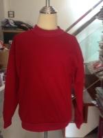 เสื้อกันหนาวแฟชั่น คอกลม แขนยาว บุกันหนาว สีพื้น สีแดง