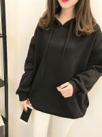 เสื้อกันหนาวแฟชั่น มีฮูด ผูกเชือก แขนยาว บุกันหนาว ลายเก๋ๆข้างหลัง สีดำ