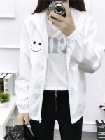 (ภาพจริง)เสื้อคลุมแฟชั่น มีฮูด แขนยาว ผ้าร่ม ลาย smile สีขาว