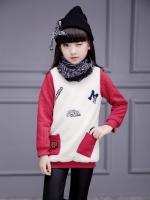 C119-46 เสื้อกันหนาวเด็กหญิง ผ้าไหมพรมทอบุขนกำมะหยี่ ผ้า2ชั้น หนานุ่ม อุ่นสบาย size 110-160