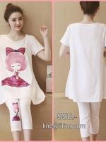 เสื้อยืดสีขาวสกีนลายผู้หญิง+เลกกิ้งสีขาวสำหรับคนท้องเอวมีสายปรับ