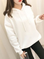 เสื้อกันหนาวแฟชั่น มีฮูด ผูกเชือก แขนยาว บุกันหนาว ลายเก๋ๆข้างหลัง สีขาว