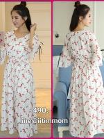 maxi dress ซีฟอง พิมพ์ลายดอกไม้สีแดง จั้มยางใต้อก มีซับในผ้าใส่สบายมากๆค่ะ