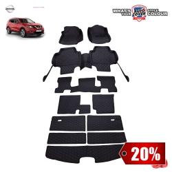 สินค้า PROMOTION!! รถ NISSAN ALL NEW X-TRAIL 7 ที่นั่ง 2015-2019 พรมรถยนต์ 6D Leather Car Mat จำนวน 11 ชิ้น สีดำด้ายแดง