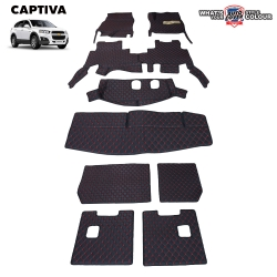 พรมรถยนต์ 6D รถ CHEVROLET CAPTIVA ปี 2007-2018 จำนวน 9 ชิ้น ชุดเต็มคัน รวมแผ่นท้ายและหลังพนักพิง