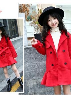 C127-52 เสื้อโค้ทกันหนาวเด็กทรงกระโปรง สีแดง ผ้านุ่มเนื้อดี แบบสวย บุซับด้านใน สวย ใส่อุ่นมาก size 160