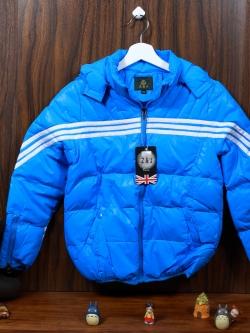 C13-15 เสื้อกันหนาวเด็กขนเป็ด สีฟ้าสด สวย ซิปหน้า มีฮูท ใส่อุ่น