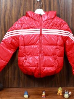 C13-14 เสื้อกันหนาวเด็กขนเป็ด สีแดงสด สวย ซิปหน้า มีฮูท ใส่อุ่น