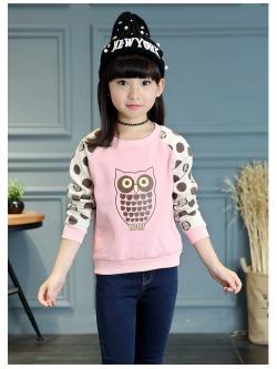 C125-511 (มีตำหนิ) เสื้อกันหนาวเด็กสีชมพู พิมพ์ลายนกฮูกน่ารัก ขนกำมะหยี่ ใส่อุ่นสบาย size 160